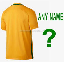 Free shipping to Brazil football jersey 2016-2017 new good quality customs name yellow Brazil soccer shirt