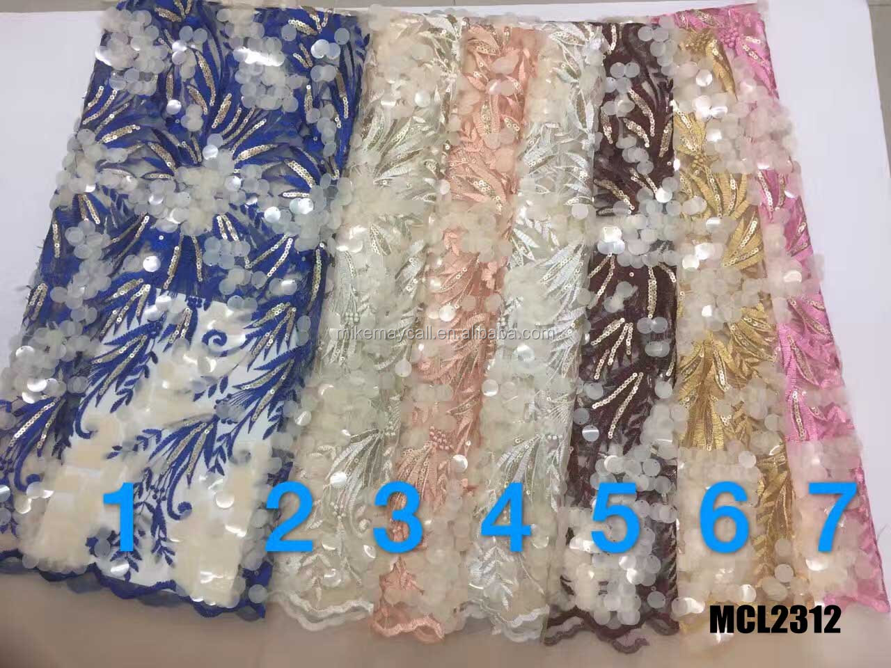 best selling lots colors 3d lace with rhinestone fancy embroidery fabric