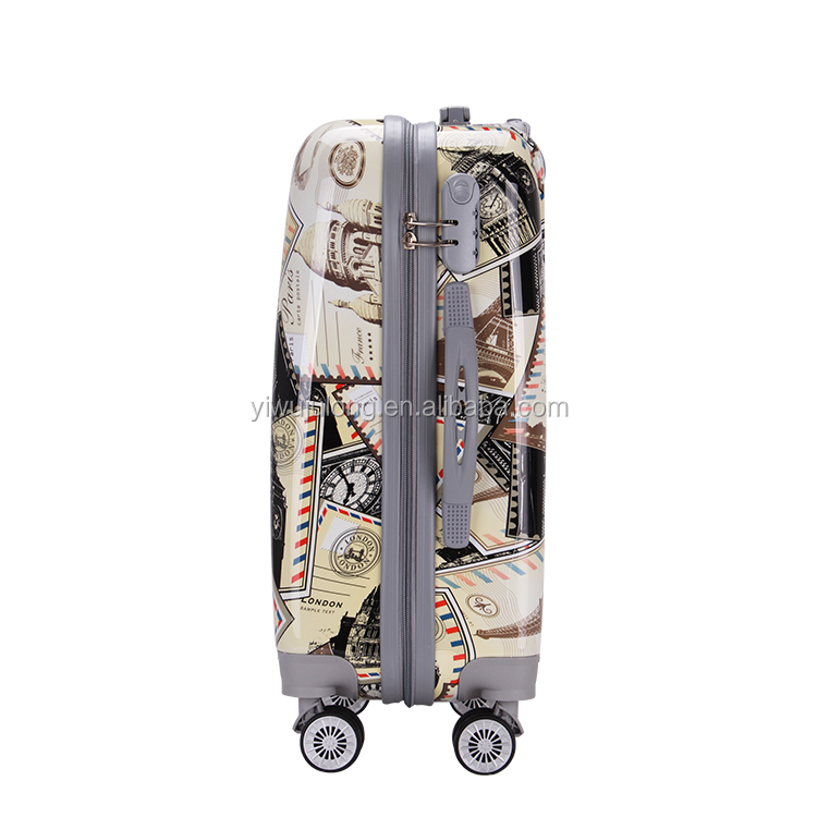 "High quality cheap abs printed suitcase 20""24""28"" hard shell travel luggage"