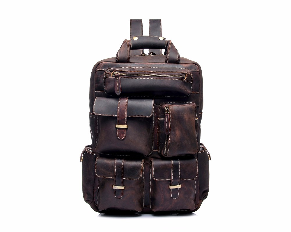 YD-8027 Top Grain Crazy Horse vintage Genuine Leather laptop <strong>backpack</strong> for women Vintage Back Pack for Men