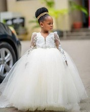 ZH2311Q 2019 White Tulle Long Sleeve Ball Gown Flower <strong>Girl</strong> <strong>Dresses</strong> For Wedding lace applique beading belt Princess Pageant gown
