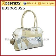 Leather hand bag and cosmetic bag set