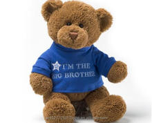 12 inches teddy bear plush toys in removable t-shirt with embroidered word