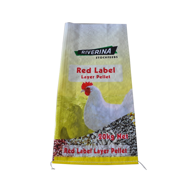 custom 9 color printing PP woven fabric bags for chicken feeding packaing