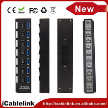High Speed black 10 PORTS USB HUB 2.0 with external Power Adapter supply