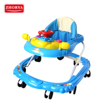 Zhorya 8 wheels multi-music adjustable height wholesale round simple baby walker with funny steering wheel