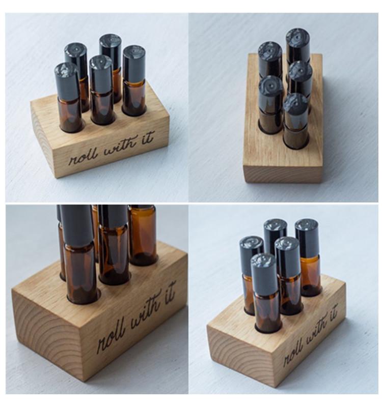 Custom wood essential oil bottle holder display rack organizer stand
