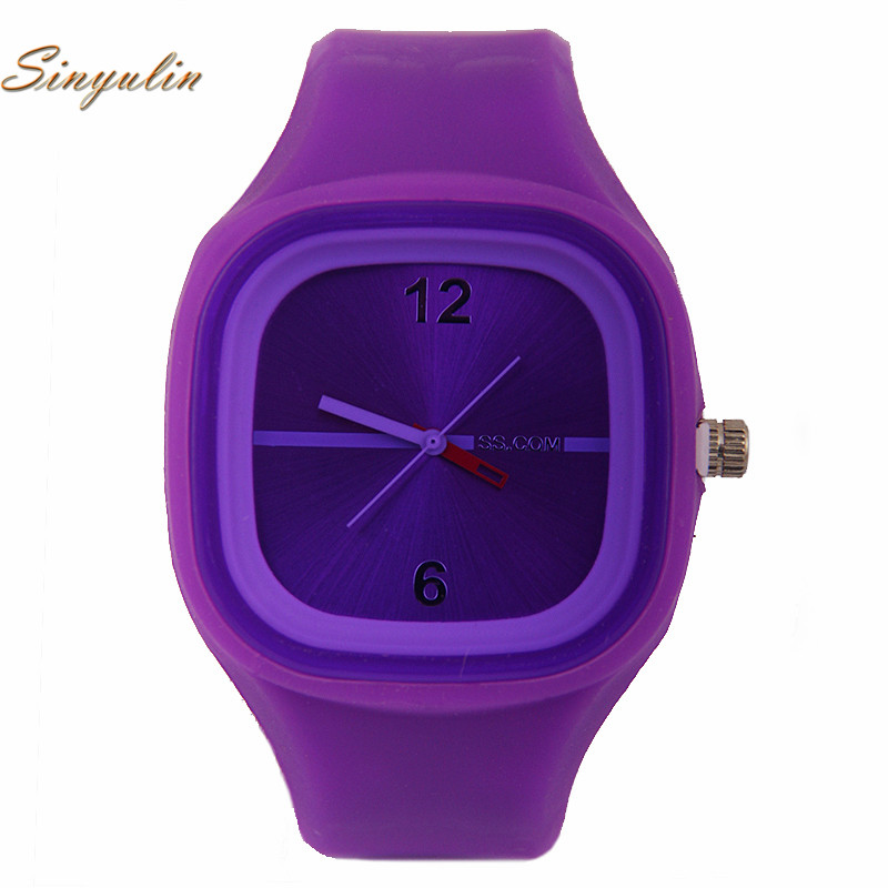 Student Fashion Sport Cute Candy Color Suqare Watches Silicone Jelly Quartz Analog Wrist Watch