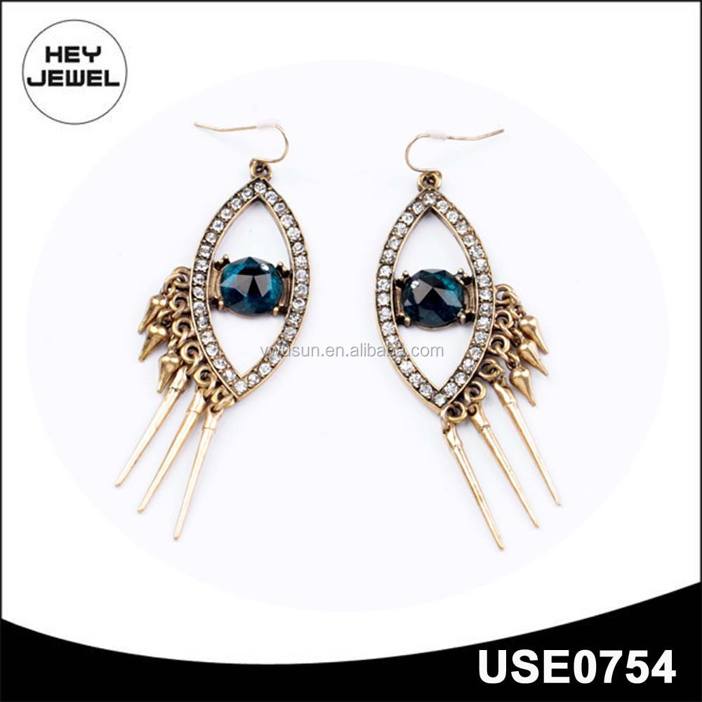 evil eye zinc alloy rhinestone gold dangle earrings
