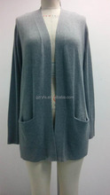 Wholesale clothing pocket square plain long cardigan sweater for ladies