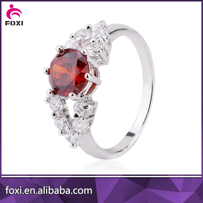 colorful cubic zirconia brass gemstone fashion jewelry rings with 925 silver