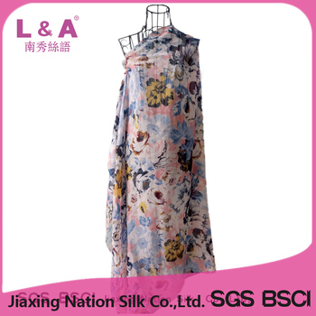 Women polyester voile flowers printing scarf shawl