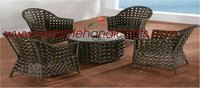 SYNTHETIC RATTAN COFFEE SET