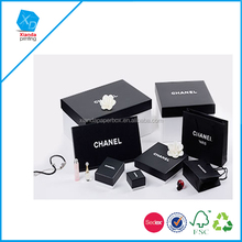Top grade black color paper jewelry box for Chanel jewelry