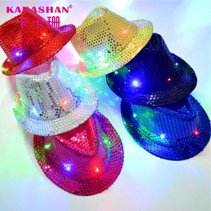 Adults Sequin Hat Fedora Party Light Up Jazz Hats With Led Lights