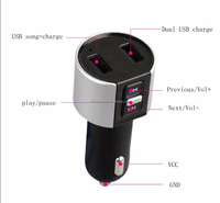 2017 New Product Stereo Bluetooth FM Transmitter Receiver 5V 3.4A Dual USB Car Charger Handsfree Bluetooth Car kit Music Player