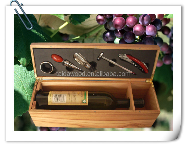 Hot Sale Wooden Wine Gift Sets Box With Accessories