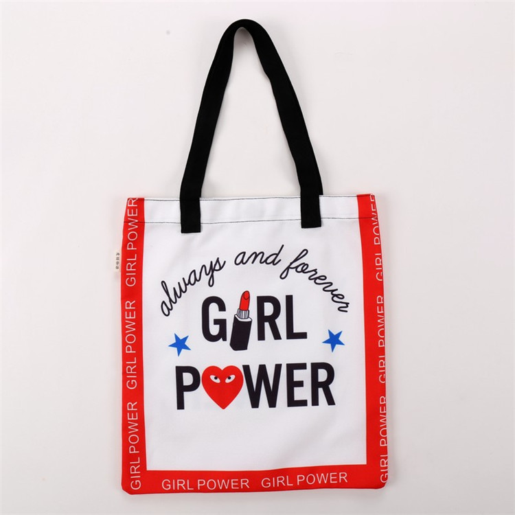 Custom Tote Fashion Shopping Black Easy To Carried Cotton Bag