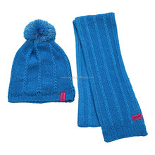 Knit bobble beanie pompom toque hat and scarf set