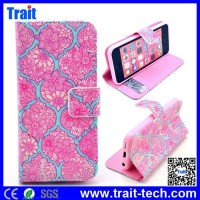 Printed Pink Flowers on Mint Green Background Pattern Card Slot Magnetic Flip Stand TPU+ PU Leather Case for iPhone 5C