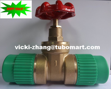 PPR Gate Valve Brass Gate Valve with PPR 2 sides Union from PPR factory by DIN8077/8078