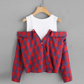 Open shoulder check 2 In 1 Shirt casual fashion design lady tops and blouses