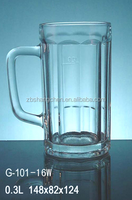 Promotional 300ml clear glass beer mug with handle