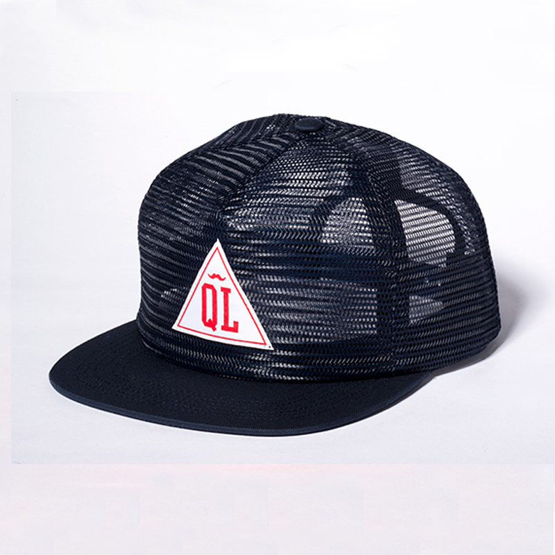 All mesh flat bill trucker cap with woven label