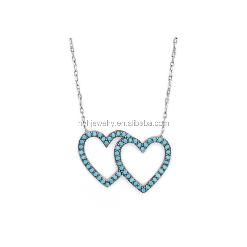2017 Summer Fashion Women 925 Sterling Silver Turquoise Jewelry Double Heart Design Pendant Necklace