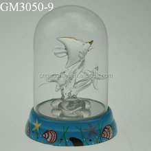 glass light cover crafts with fish and water plants inside