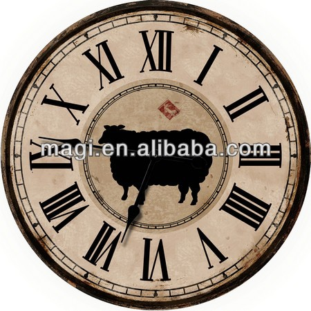 Home decor round rustic wooden wall clock