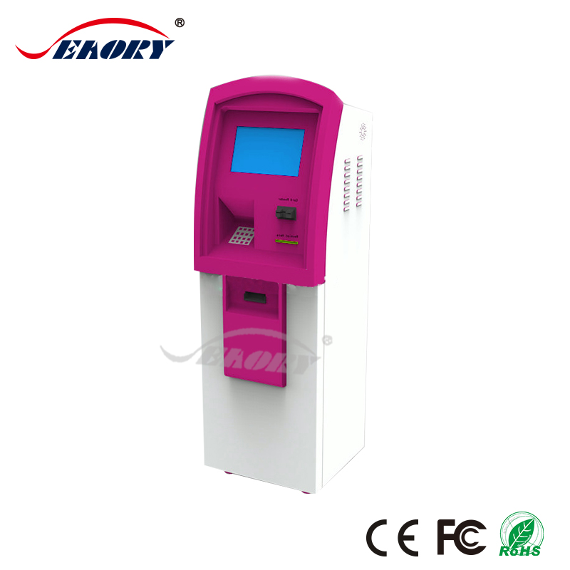 2017 new self-service touch screen kiosk with card reader, thermal printer , kiosk card dispenser