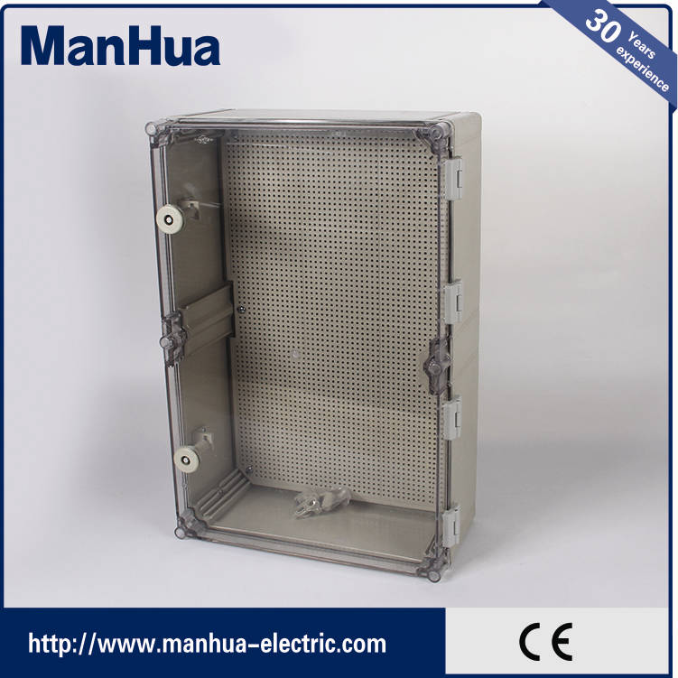 Manhua IP67 Waterproof Electrical Control hinged plastic enclosure Box with CE
