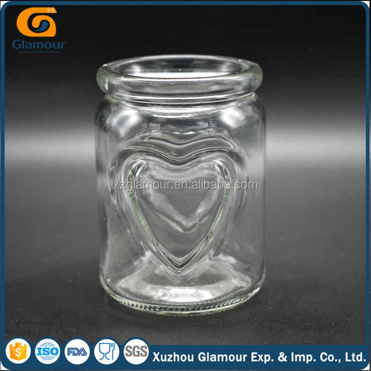 250ml engraved heart shaped glass pudding bottle