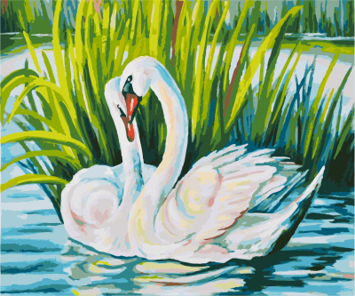GX8466-40*50 diy oil Painting Fashion painting sunrising of the swan lake oil painting