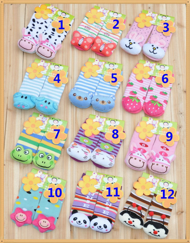 Baby Socks with Cartoon animal Baby Outdoor Shoes, Baby Anti-slip Walking Socks, Children Stocking,kid's gift
