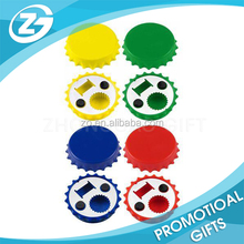 Wholesale Colorful Creative Promotion Multi-funtion ABS Bottle Cap Shape Chroming Iron Beer Opener with Magnet