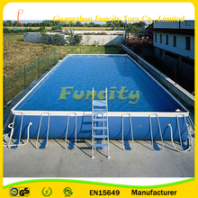 Metal Frame Swimming Pool for Ground , Square Metal Frame Pool for Water Park Games