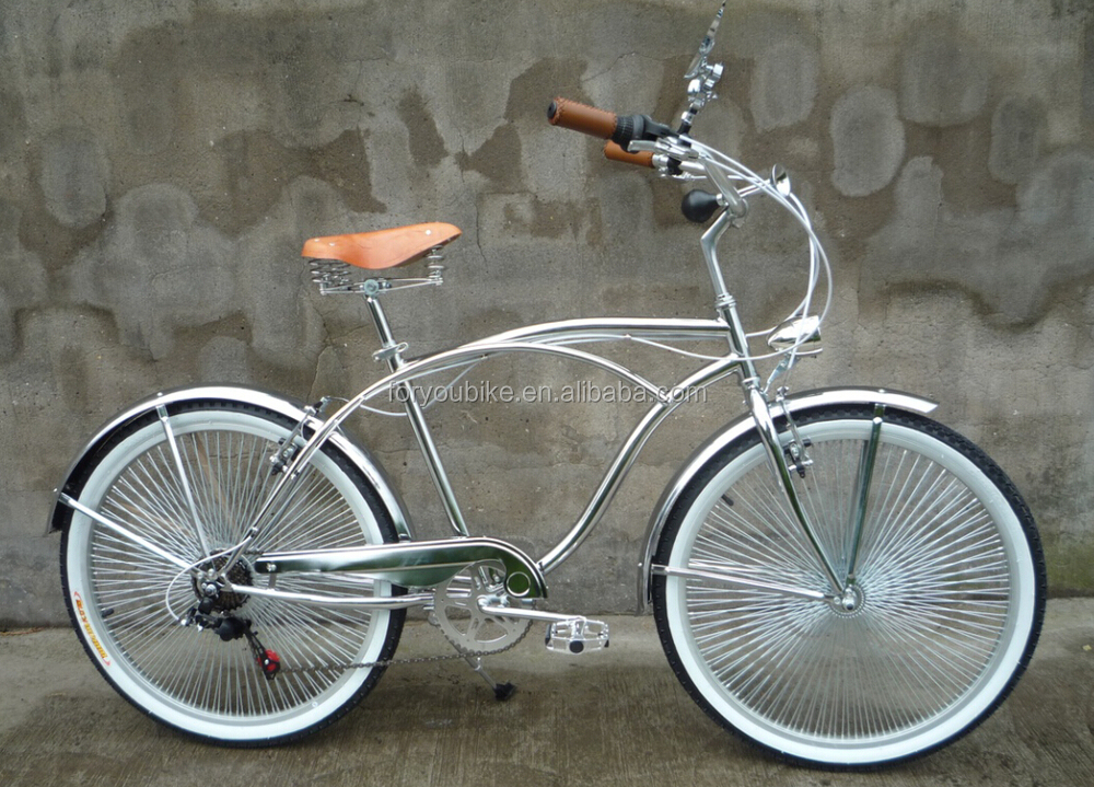 "26"" cheap 7 speed chrome painting beach cruiser bike with spring suspension fork beach cruiser bicycle new model hot sale"