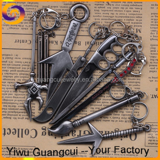 Hot sale Metal naruto toy weapons key ring chain keyring keychain