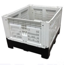 Recyclable food plastic pallet container with vent cover/box foldable