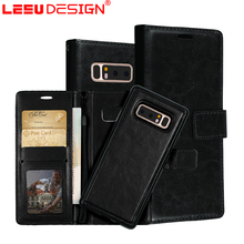 LEEU DESIGN Magnet 3 Card Slots Wallet PU Leather Phone Cases For Samsung note 8