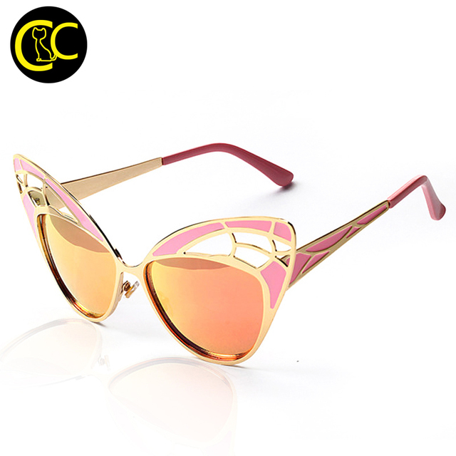New Fashion Women Cat Eye Sunglasses Brand Design Metal Frame Openwork Mesh butterfly Sun Glasses Vintage Oculos De Sol CC0290