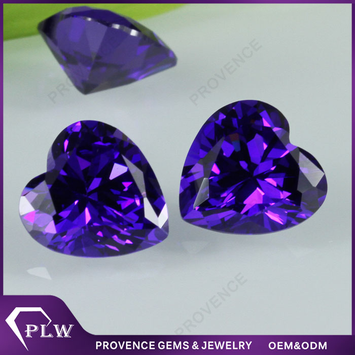 6*6mm Heart Shape Raw Amethyst Loose Gemstones Zircon Stones