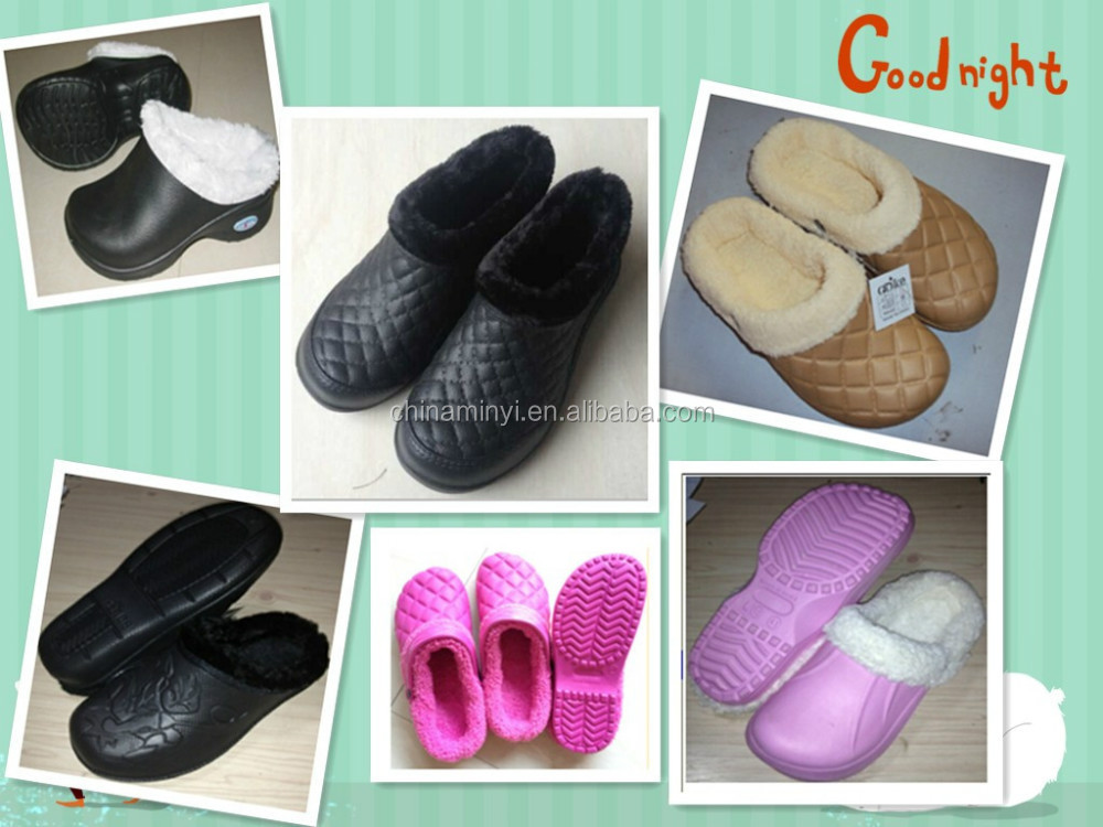2015 many styles of unisex winter warm EVA clogs with fur