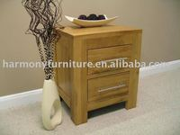 Rizhao Harmony solid oak 2 drawer metal handle night stand
