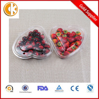 Heart shaped PET disposable plastic fruit container/salad boxes
