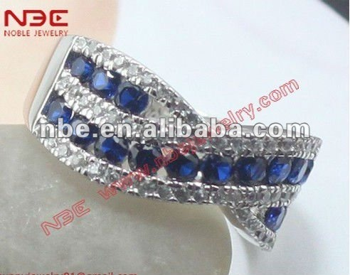 Best selling fashion 925 silver ring with blue corundum stone channel seting artisan crafted factory handmade wholesale jewelry