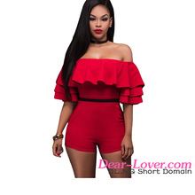 Wholesale Fashion Red Ruffle Party Romper Women Off shoulder Tops