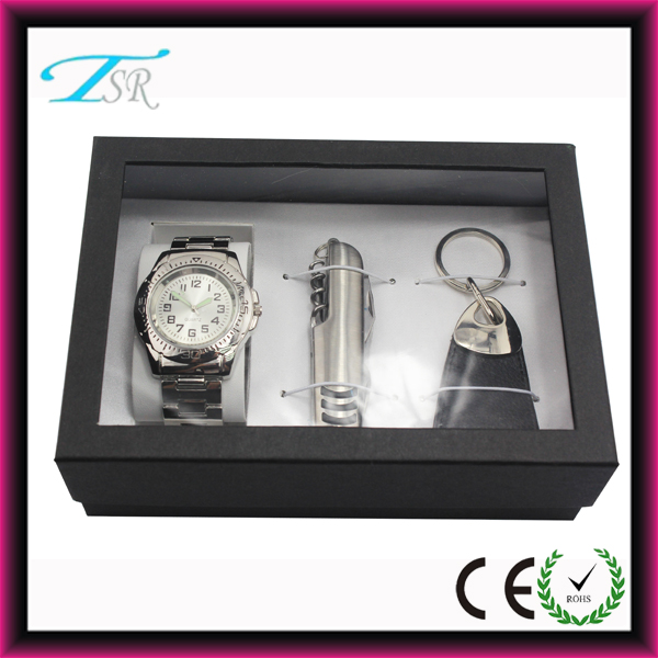 2014 Promotional Gift set with watch, key chain and knife pack in nice quality box